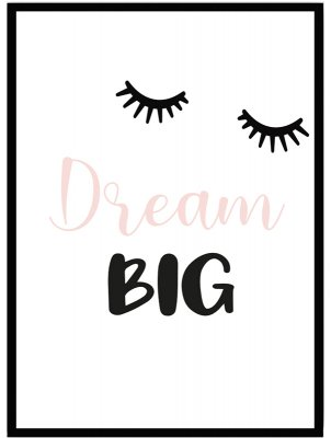 Poster barntavla dream big rosa
